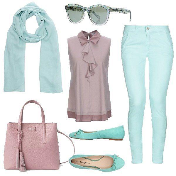 Verde acqua e rosa per questo outfit bon ton pantaloni skinny, top con  volant, foulard, occhiali da sole, ballerine e borsa a mano.