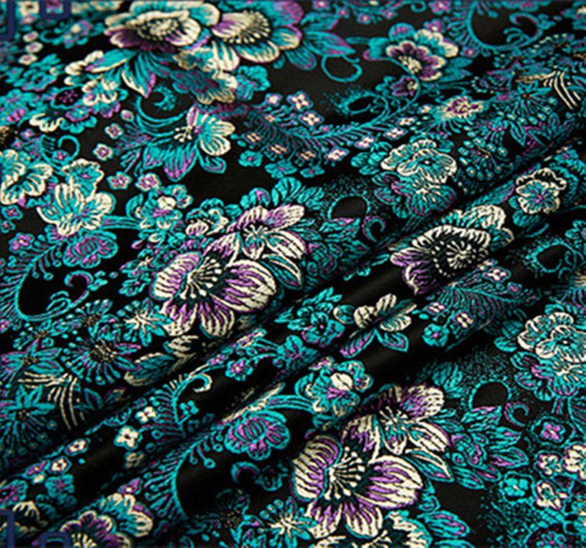 bd71b11597da61e Купить товар Черный цветок металлик жаккардовые ткани парчи, 3D жаккардовые  ткани, окрашенная пряжа ткань