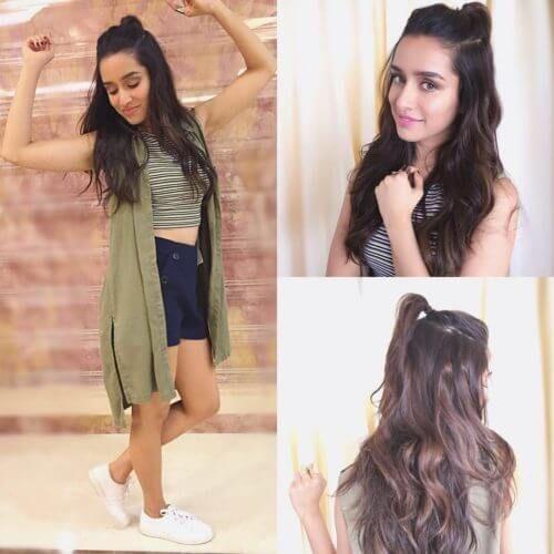 Shraddha Kapoors Hun Half Bun Hairstyle Bollywood Hair