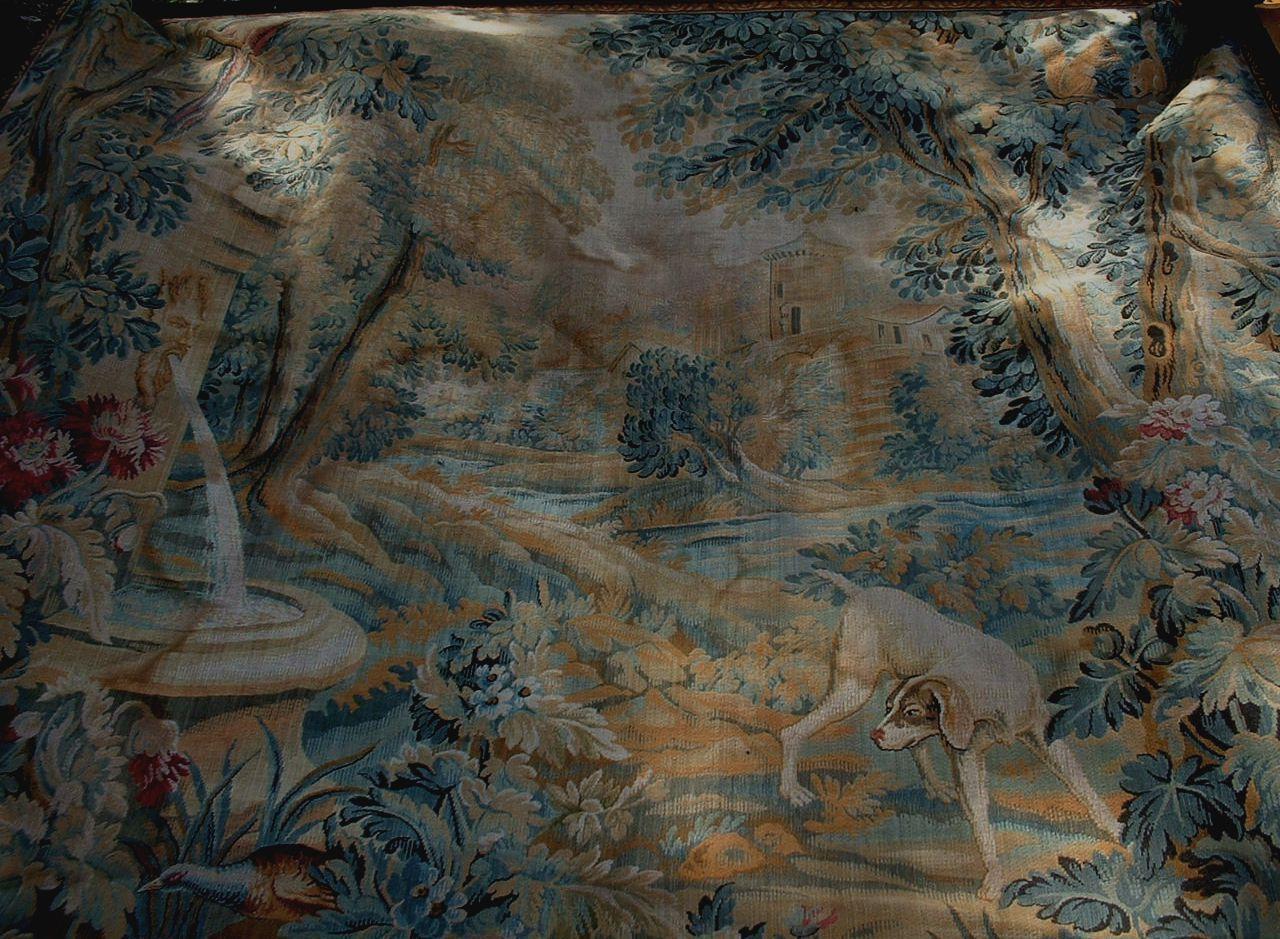 Tapisserie Ancienne Aubusson Chateau Fleurs Oiseaux Chien Ebay