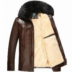 [ 20% OFF ] Men's Leather Jacket 2017  Pu Leather Jacket Male Thick Lining Velvet Faux Fur Collar Chaquetas Plus Size M-3Xl Hj385