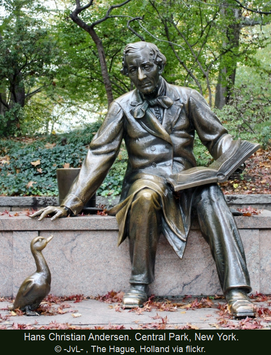 """""""Bronze statue of HANS CHRISTIAN ANDERSEN in Central Park, Manhattan, New York City. HCA is reading his story THE UGLY DUCKLING to the duck sitting at his feet.""""  Photo (detail) © -JvL- (Photographer, The Hague, Holland) via flickr.   HC Andersen (1805-1875) was a  Danish author, fairy tale writer, & poet... Favorite stories include: """"Thumbelina"""",  """"The Little Mermaid"""", """" & """"The Princess and the Pea.""""…"""