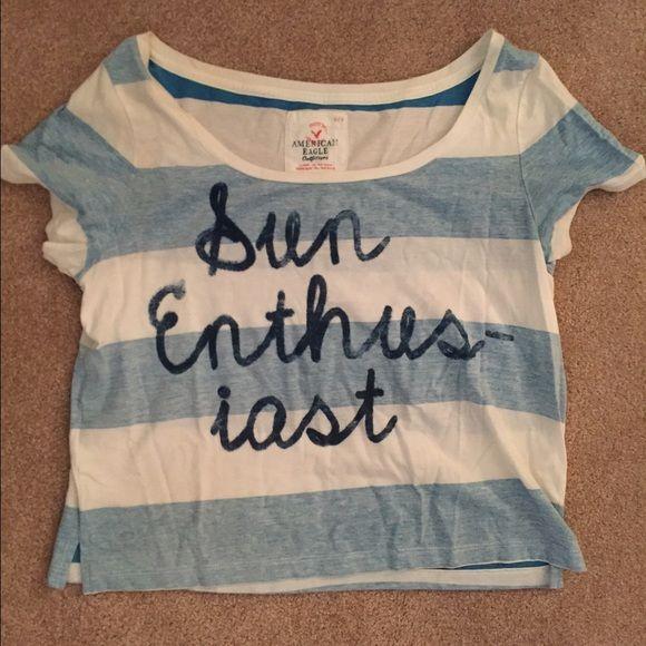 "American Eagle shirt Loose crop top/short sleeve shirt. ""Sun enthusiast"" American Eagle Outfitters Tops Tees - Short Sleeve"