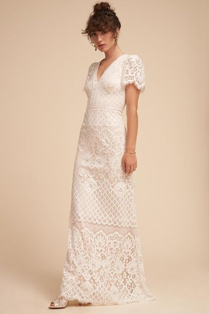 BHLDN Ranna Gill Andrea Wedding Gown Lace Size 2 NEW V