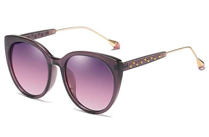 71e325e7a2 Amazon.com  FEISEDY Classic Cat Eye Polarized Sunglasses Oversized Women  Stars Metal Frame Beauty Design B2457  Clothing