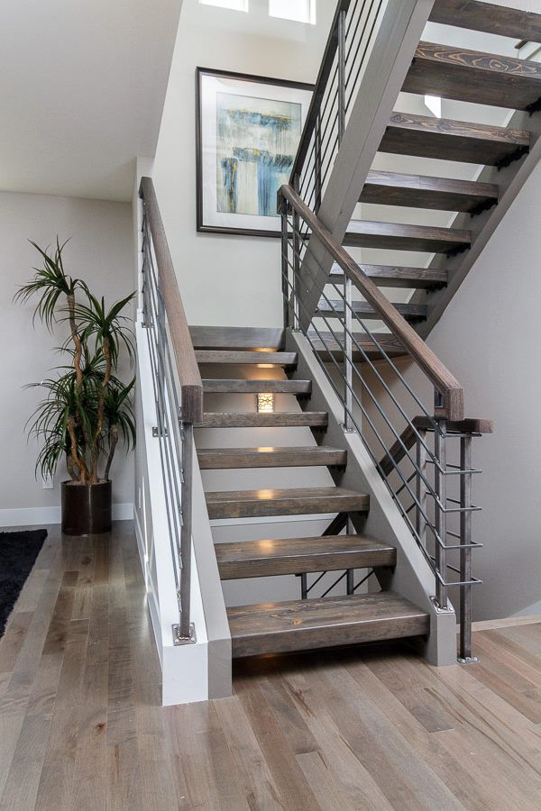 Custom Floating Stair Case With Hardwood Treads And A