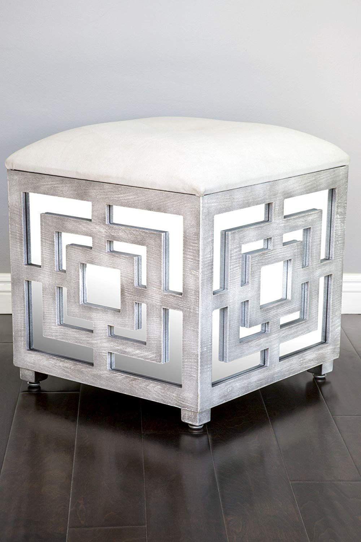 Statements By J Reena Mirrored Ottoman W Storage Box 21 Inch Tall Storage Ottoman Furniture Ottoman