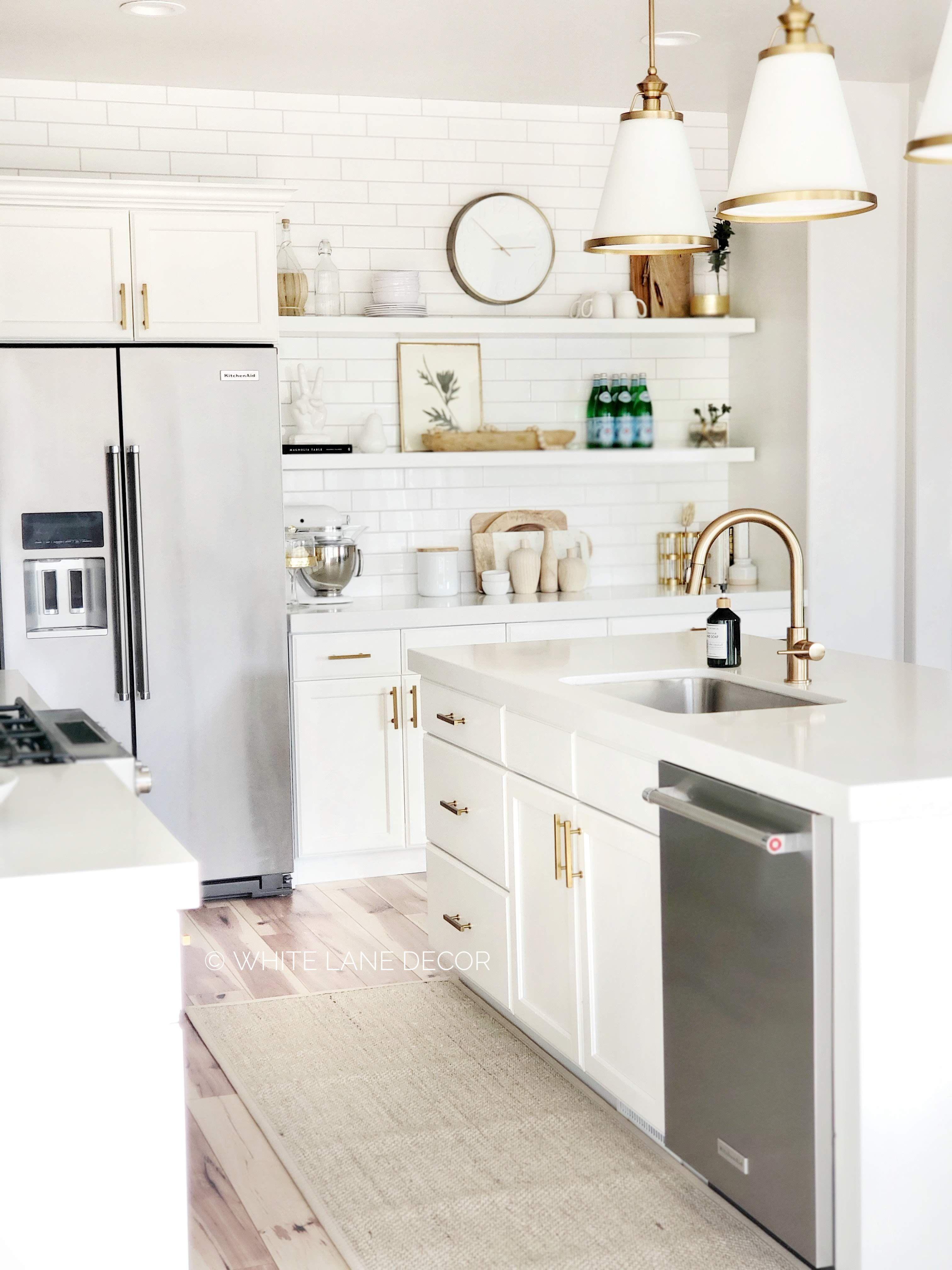 Gold And White Kitchen White Lane Decor Modern Kitchen Design Kitchen Design Kitchen Remodel