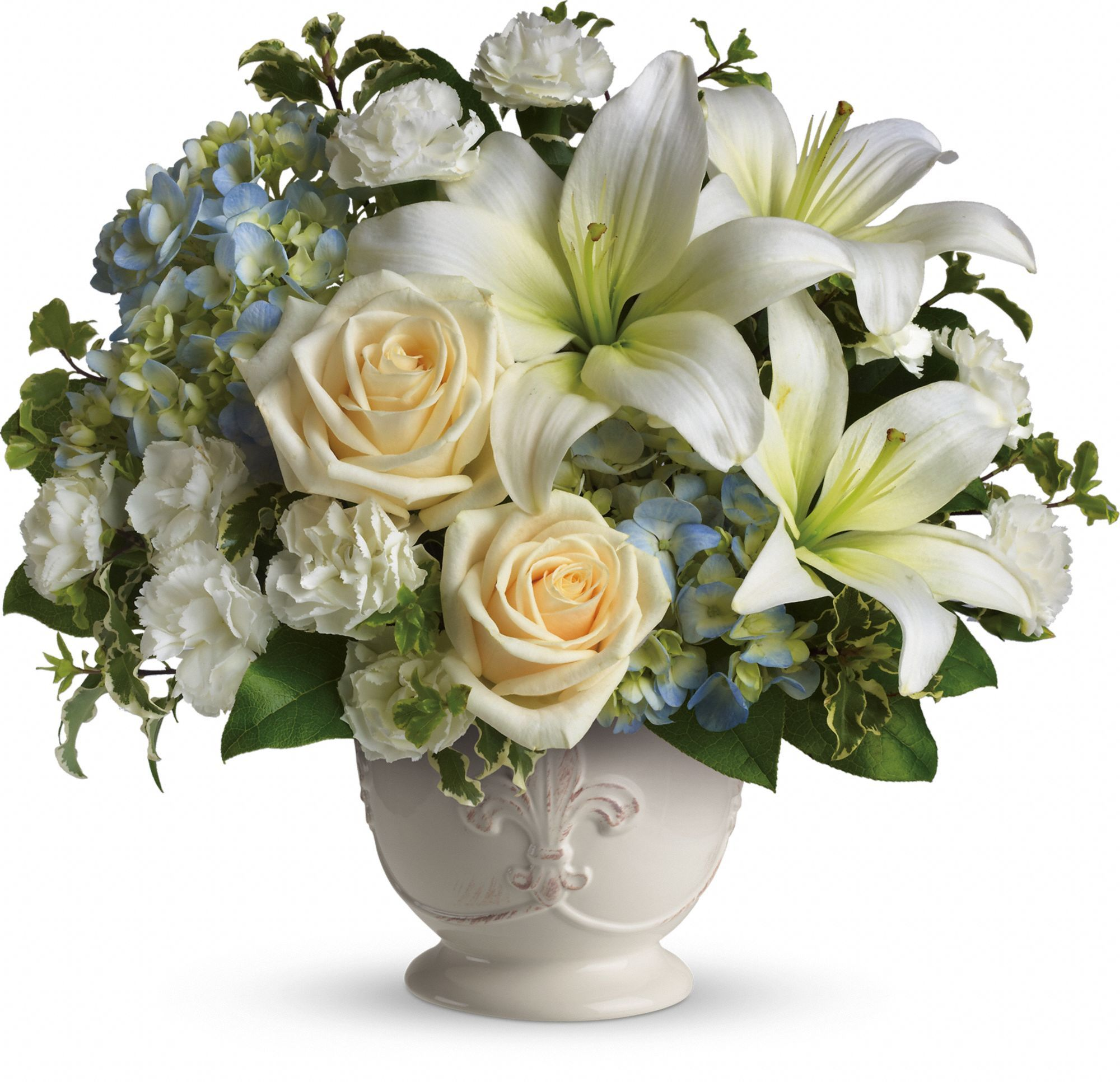 Beautiful dreams by teleflora loss pinterest sympathy flowers a beautiful bouquet of blue and white sympathy flowers blue hydrangeas crme roses white miniature carnations fragrant white asiatic lilies and green izmirmasajfo