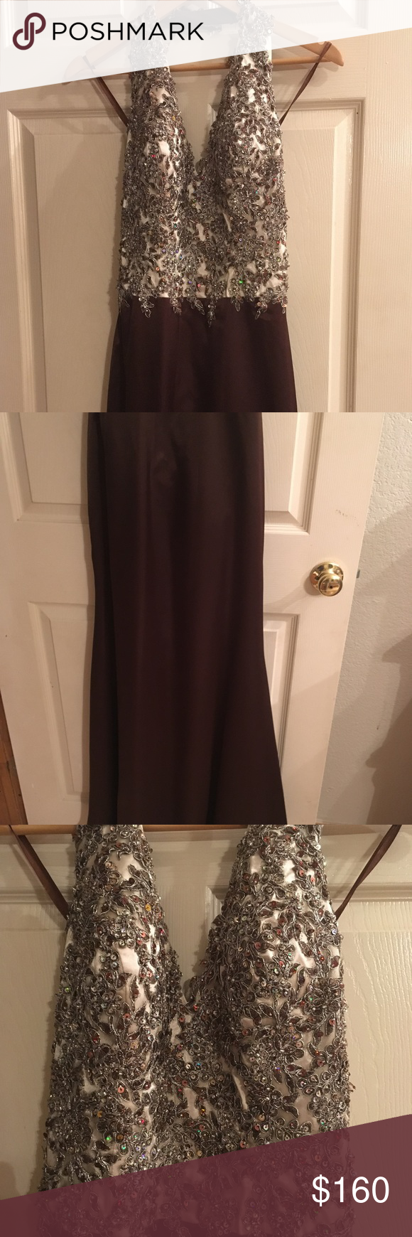 My fashion evening gown. size is 8, runs small Beaded halter evening ...