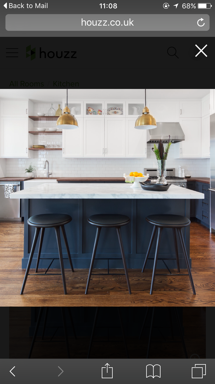 Fascinating Solid Brass Finish Pendant Lamp Over Navy Blue Cherry Wood Kitchen Table With White Granite Countertop And Three Black Polished Bar