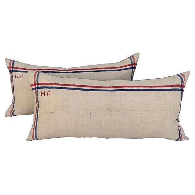 Image of French Linen Embroidered Pillows - A Pair