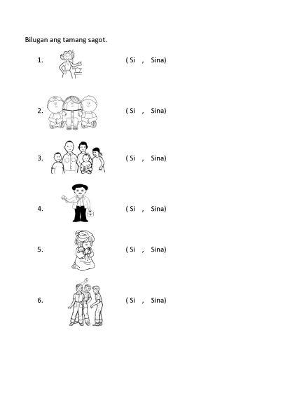 Filipino Worksheet Si O Sina Reviewer Kindergarten
