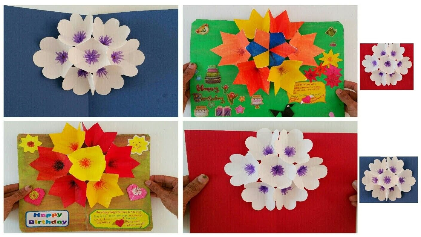 Paper Craft 3d Popup Flower Greeting Cards For Birthdays Special
