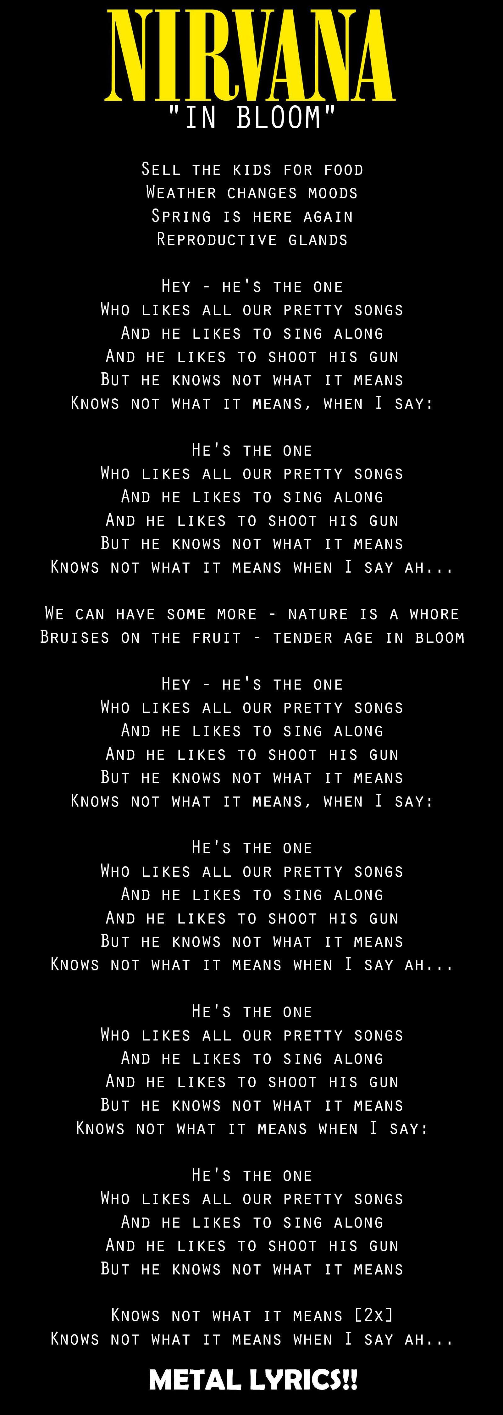In Bloom Nirvana Nirvana Lyrics Nirvana Songs Pretty Songs