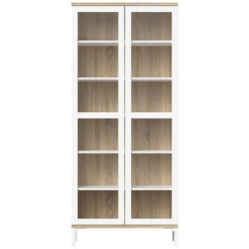Foil Aberdeen 2 Door China Cabinet In White And Beige Tvilum Target Tvilum China Cabinet Oak China Cabinet