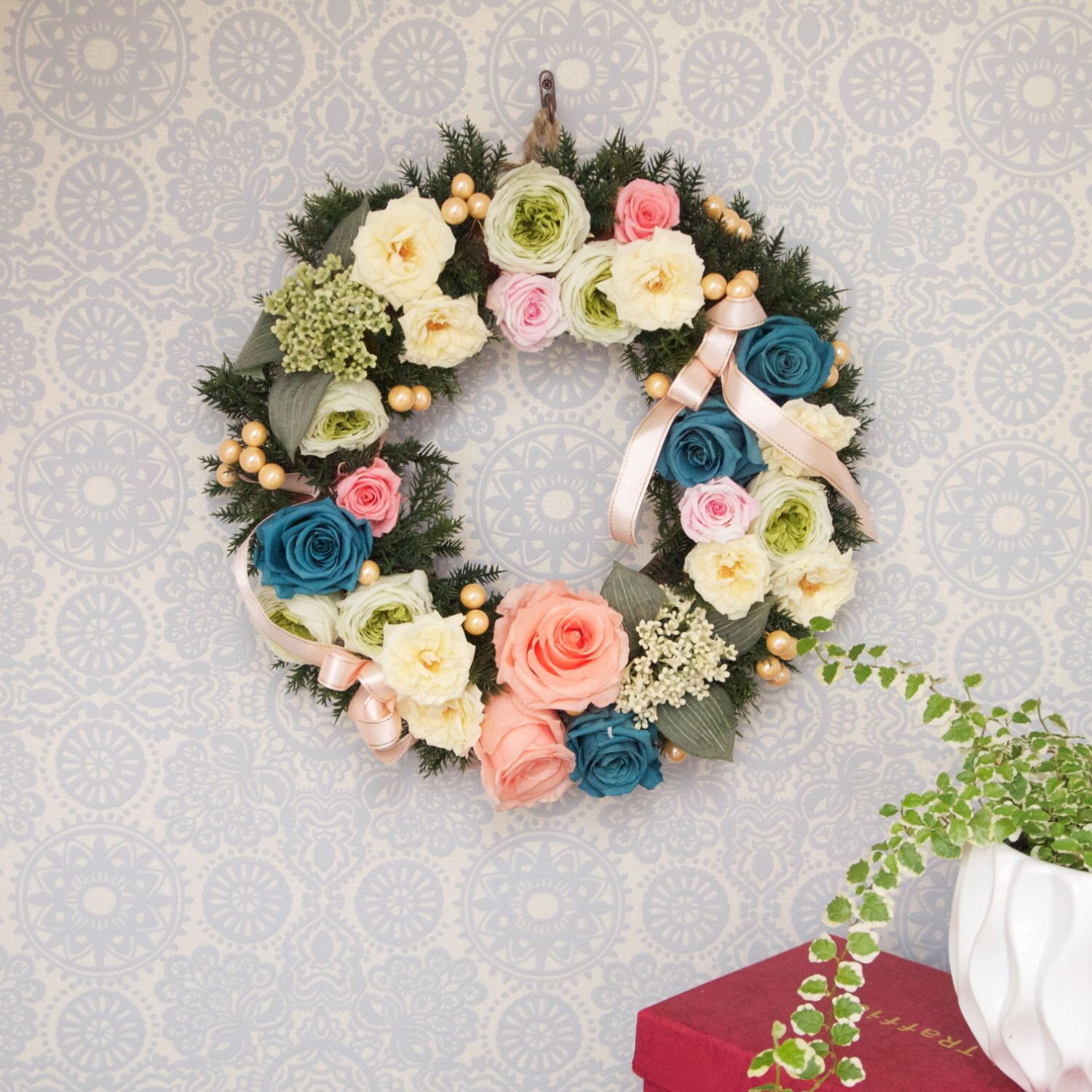 Full rose wreath by WealthyWreath on Etsy https://www.etsy.com/listing/212965226/full-rose-wreath