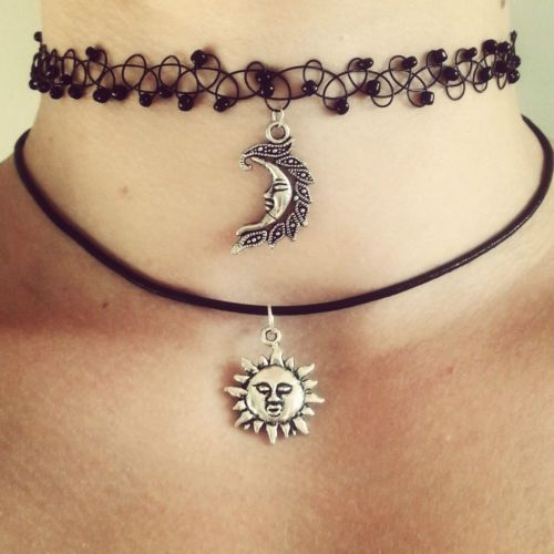 SUN choker necklace grunge & moon 90s 1990s festival ...