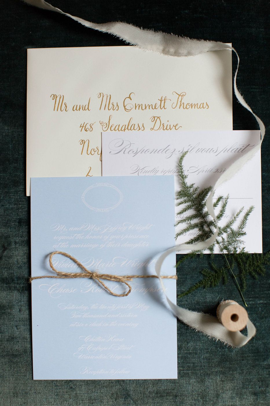 vintage wedding invitation text%0A Powder Blue Vintage Wedding Invitation Suite