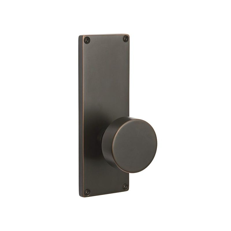 "Emtek 8111US10B Oil Rubbed Bronze 7-1/2"" Height Rectangular Sideplate Brass Modern Passage Entry Set"