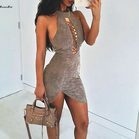 56a9ccc29f6c Womens Sexy Dresses Party Night Club Dress Faux Suede Lace Up Side Slit  Slim Fit Tunic Mini Bodycon Bandage Dress #cluboutfits