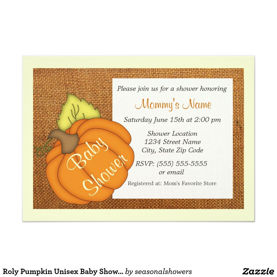 Roly Pumpkin Baby Shower Invitations can be used for either a girl ...