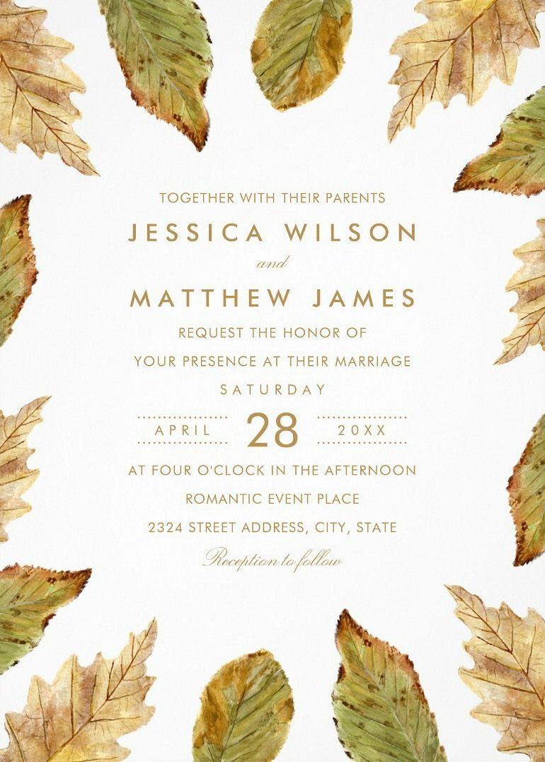 Fall Themed Wedding Invitations Rustic Watercolor Leaves Wedding ...