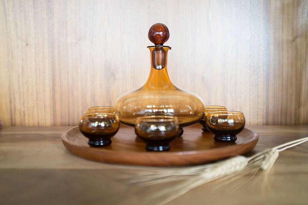 Mid Century Amber Glass Decanter Sake 8 Piece Set - Including the Tray by 606studio on Etsy