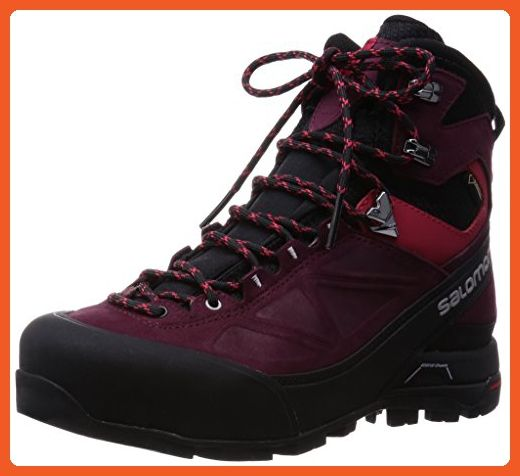 Salomon X Alp Mtn Gtx Mountaineering Boot Women S Black Bordeaux Lotus Pink 6 0 Boots For Women Amaz Black Boots Women Mountaineering Boots Womens Boots