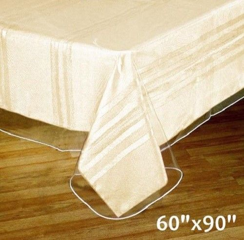 Oval Tablecloth Plastic Cover Durable To Spills Vinyl Protector Heavy Duty  Table