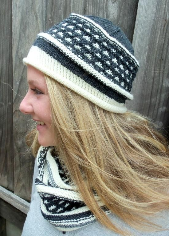 Free knitting pattern for Bea beanie hat with slip stitch color work ...