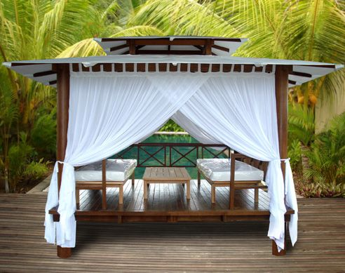 This would be perfect for the new meditation space/yoga platform. I love  the linen canopy.