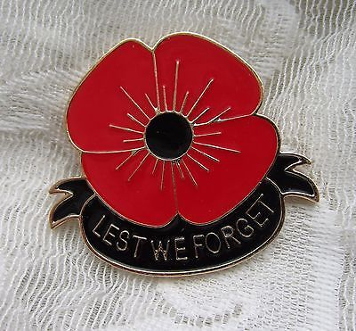 Vintage Style Lest We Forget War Memorial Poppy Flower Patriotic