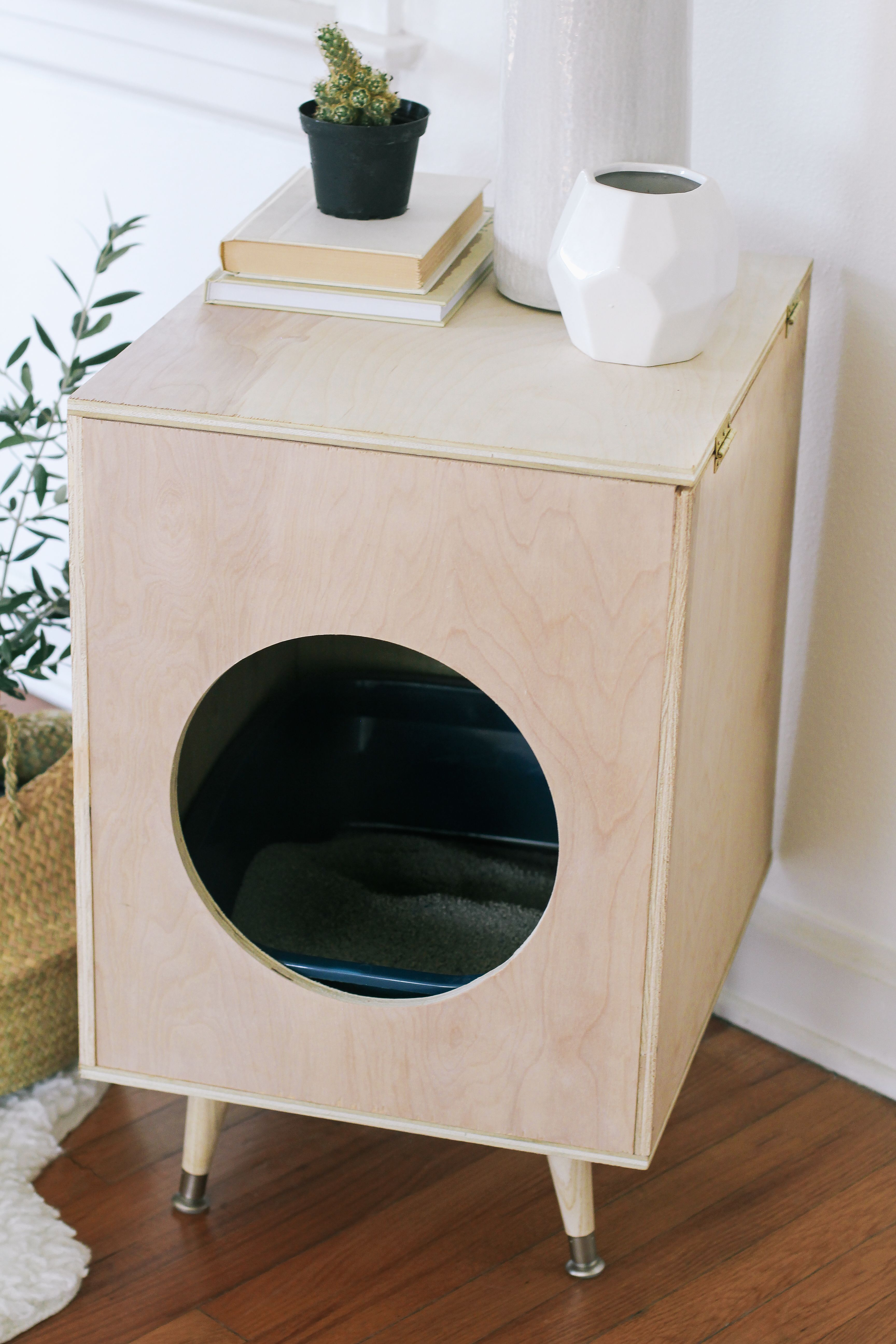Diy Modern Plywood Kitty Litter Box With Images Cat Litter Box