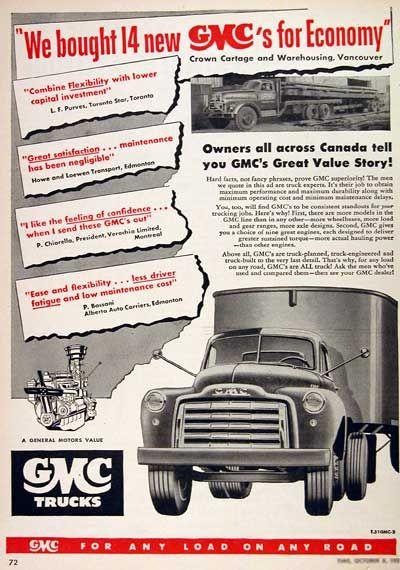1952 Gmc Semi Trucks Original Vintage Advertisement Illustrated