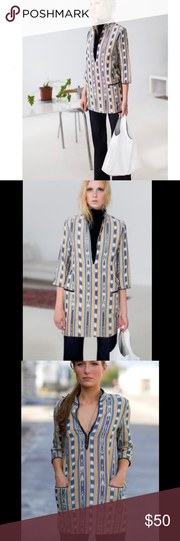 """Emerson Fry Ikat tunic Ikat tunic by cult designer Emerson Fry. In gorgeous yellows and blues. 100% cotton body with silk piping. Hook and eye closure at neck. Measurements: pit to pit 17.5"""", sleeves 17"""", length 28"""". Emerson Fry Tops #emersonfry"""