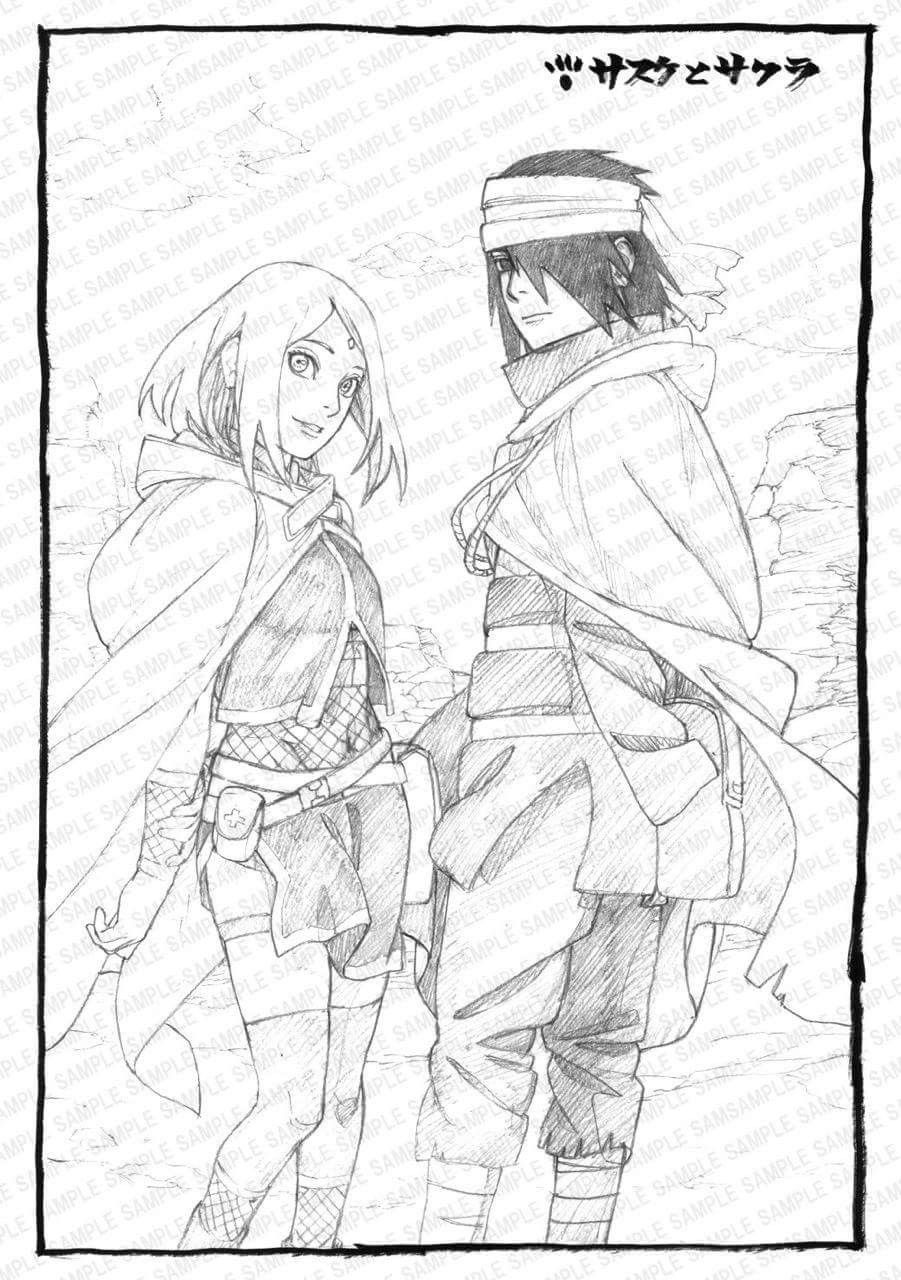 Official sketch of sasuke and sakura on their trip before sarada was born in orochimarus hideout ❤ ❤ ❤️