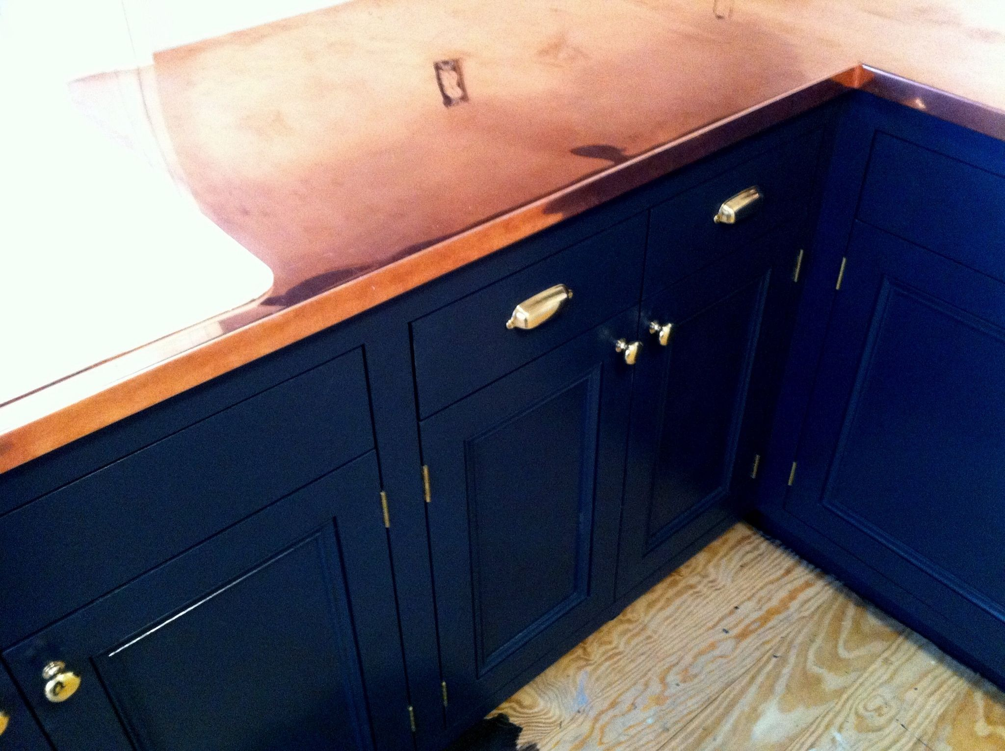 Navy Blue Cabinets With Copper Counter Tops