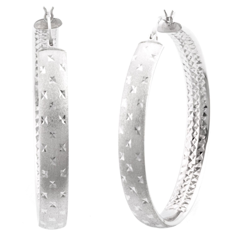 45mm Sterling Silver Diamond Cut Hoop Earrings Sam S Club Bling