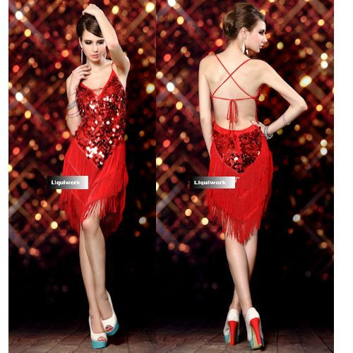 ad5202d81 Sexy Red Bling Backless Short Mini Cocktail Latin Ballroom Dancing Dress  SKU-401228