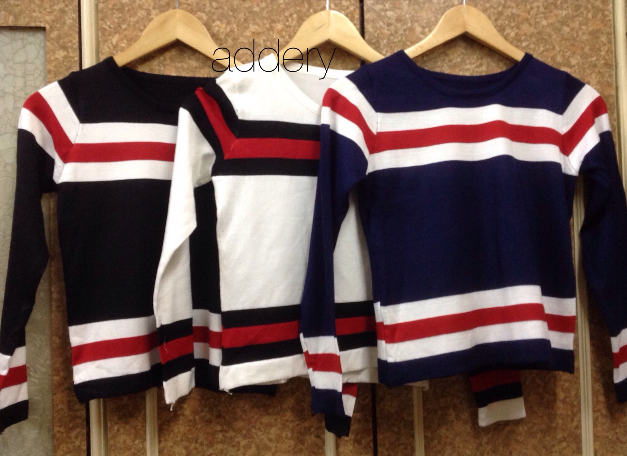 Stripes Full Sleeves Tshirt#Knit Fabric#Comfortable#Casual#Winter Wear#Blue,White And Black Color#Trendy#Western Wear#Fashion#Addery#Keep