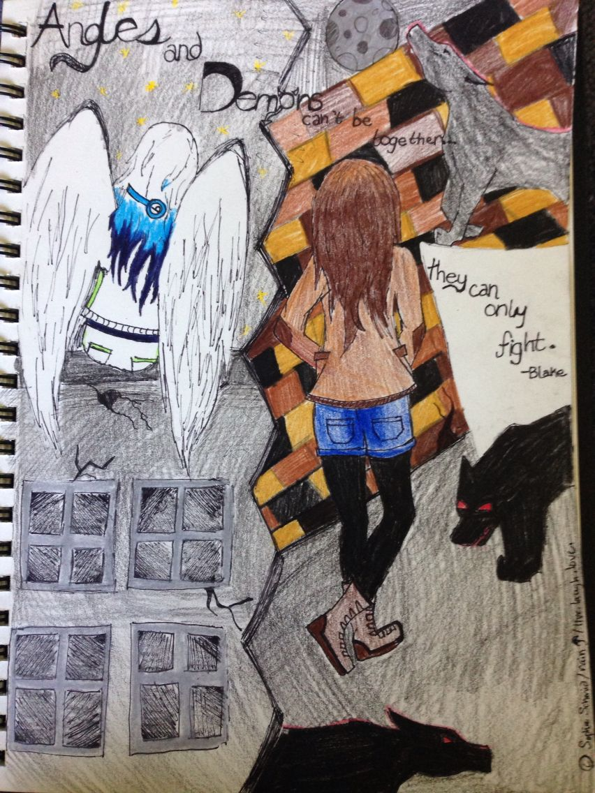 """Breena (favoredartist) & Rain (InfinteRain) MY OC. """"Angels & Demons can't be together... They can only fight."""" -Blake. Drawing done by r a i n☂ (ℓινє.ℓαυgн.ℓσνє.) (Sophie Schmid) if repinned make sure to say who drew it. Copyright. All rights reserved."""