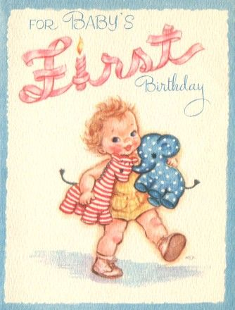 Images Of Vintage Babys First Birthday Card Epier Babys First
