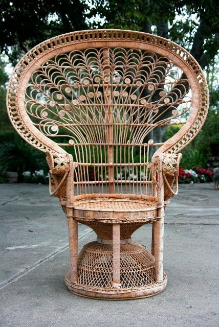 i love how the peacock chair frames the person sitting in it. I want  one-Darcie we need these! - WHAT TO DO WITH A COOL YARD SALE FIND? A VINTAGE WICKER PEACOCK