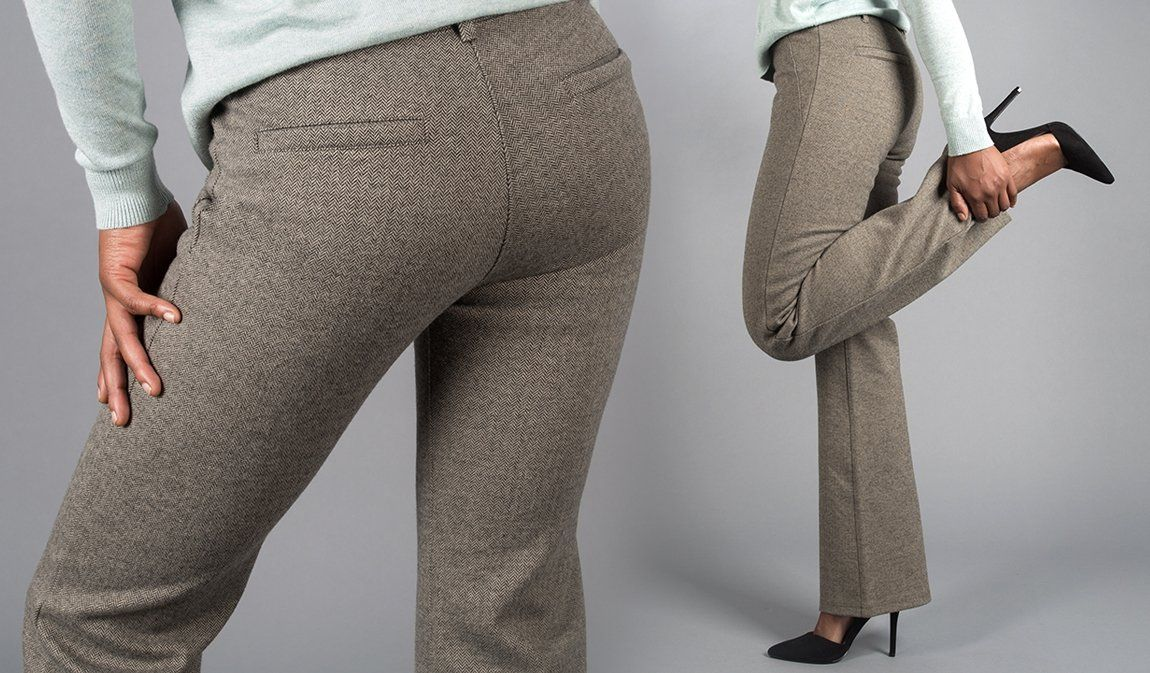 2d87790e78 Boot-Cut Herringbone Dress Pant Yoga Pants | Women's Dress Pants | Betabrand