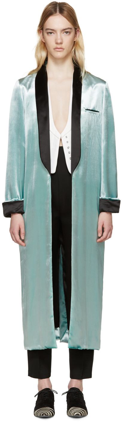 Haider Ackermann - Green Velvet Peignoir Coat