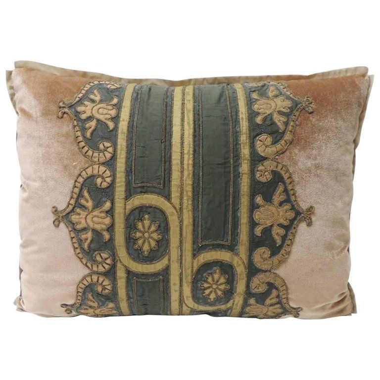 1stdibs Golden Woven Ribbon Decorative Pillow French Regency