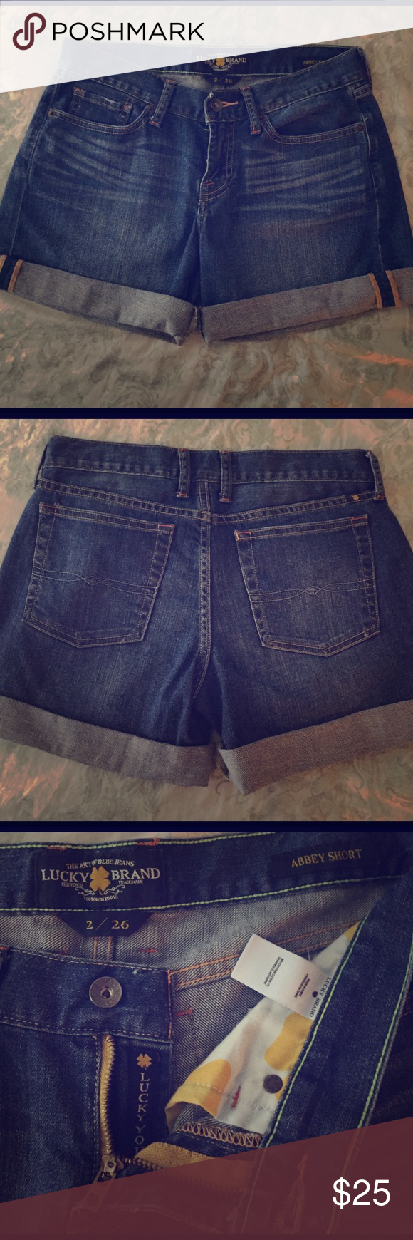 Lucky Brand Jean Shorts Abbey Double Roll Short - Style 7w11526 H212 Lucky Brand Shorts Jean Shorts
