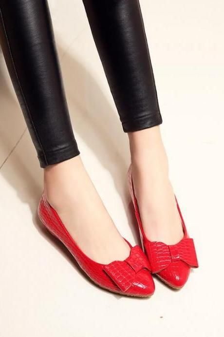 ballerine-Women s Pure Color Flat Heel Bowknot ... J1RcgqKVm