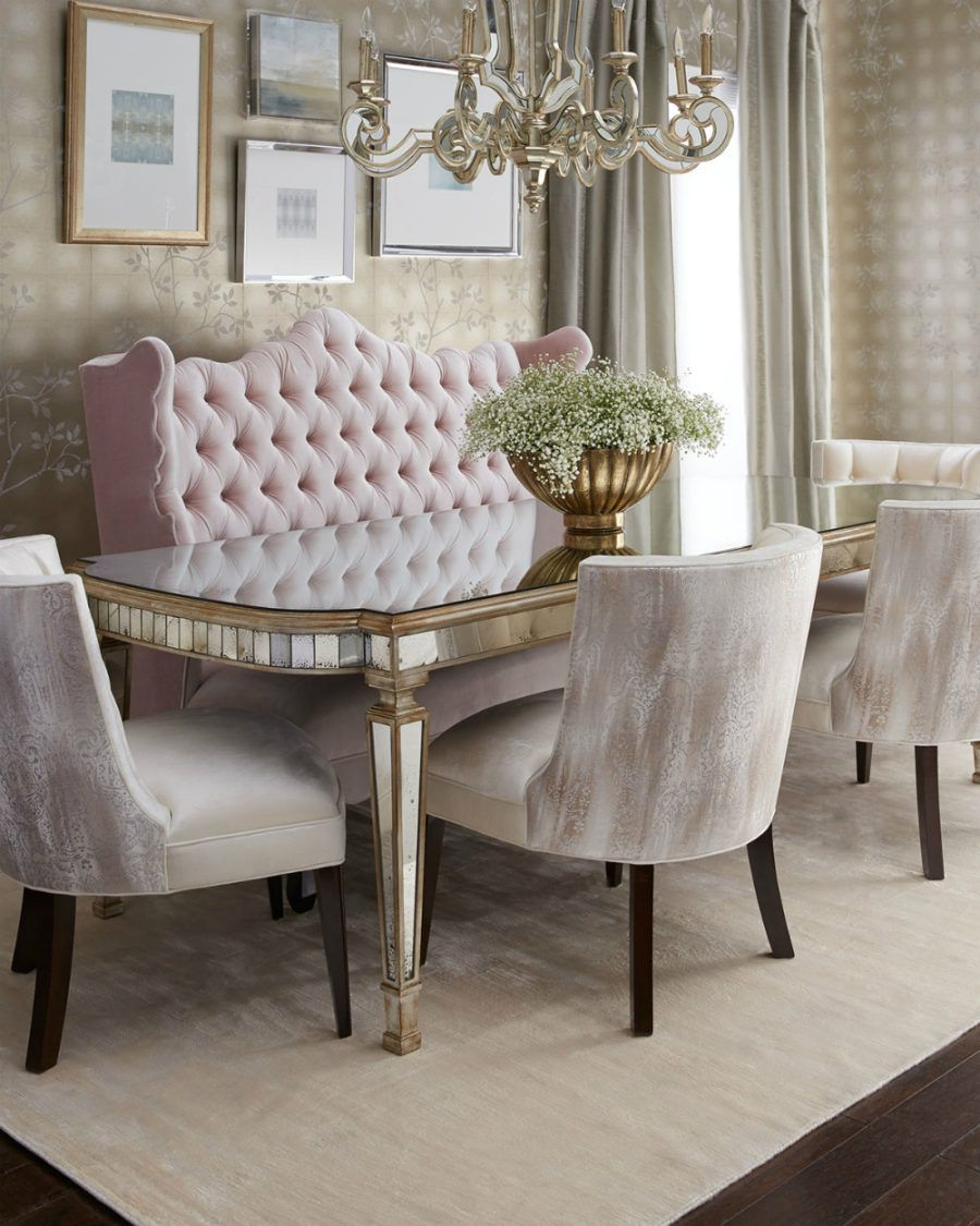 Eliza 72 l antiqued mirrored dining table from john richard collection